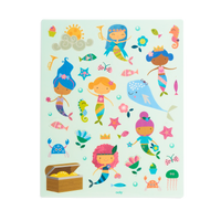 Stickers of mermaids & other creatures from the Play Again! Reusable Sticker Scenes - Mermaid Magic