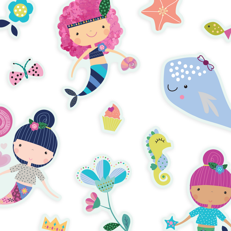 Image of Mermaid Magic Play Again stickers laid out
