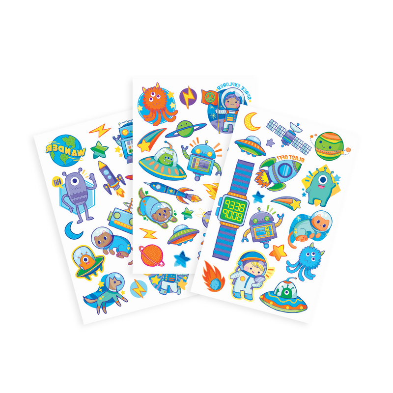 OOLY Space Explorer temporary tattoos featuring 3 sheets
