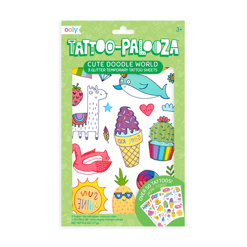 Tattoo-Palooza Temporary Tattoos - Cute Doodle World - in packaging.