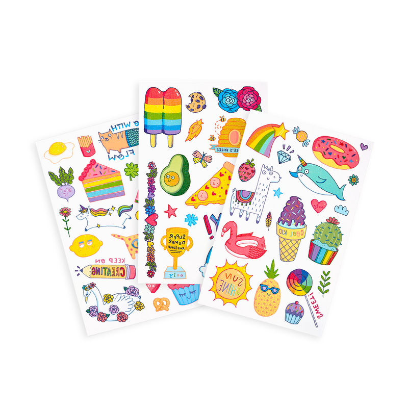Tattoo-Palooza Temporary Tattoos - Cute Doodle World - 3 Sheets displayed