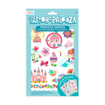Tattoo-Palooza Temporary Tattoos - Princess Garden in packaging.