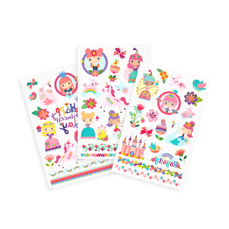 Tattoo-Palooza Temporary Tattoos - Princess Garden - 3 Sheets displayed