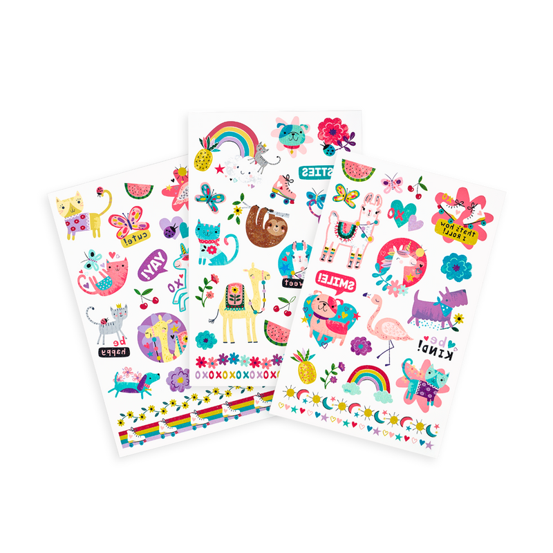 OOLY Tattoo-Palooza Temporary Tattoos - Funtastic Friends - 3 Sheets displayed