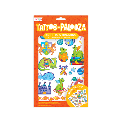 Tattoo-Palooza Temporary Tattoos - Knights and Dragons