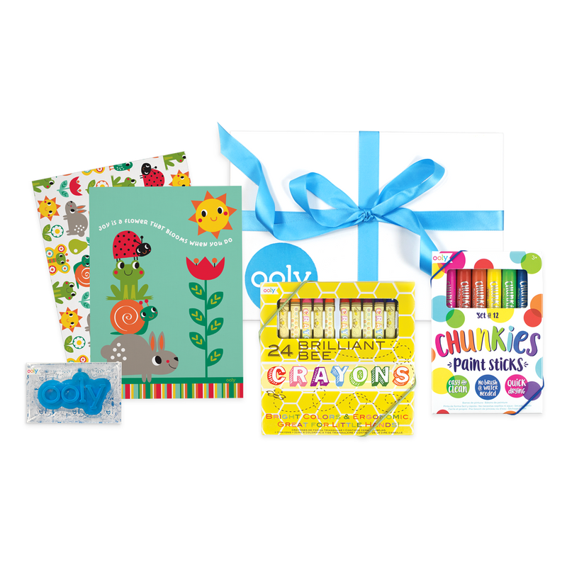 OOLY Little Artist Gift Set for Toddlers with crayons, paint sticks and sketchbooks