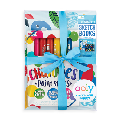 Budding Artist kids paint gift set with paint sticks and sketchbook