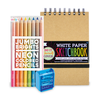 Jumbo Brights neon colored pencils with DIY cover sketchbook and Mighty pencil sharpener