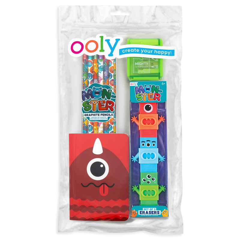 OOLY Monster Pal Happy Pack with monster erasers, pencils and pocket notebook in a zipper pouch