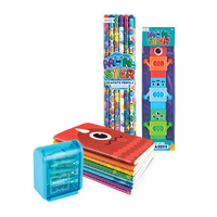 Monster Pals Happy Pack with monster pencils, erasers, pocket notebooks and sharpener
