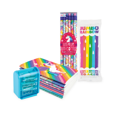 Unicorn writing set with unicorn graphite pencils, pocket pal journals a Jumbo Rainbow scented eraser and pencil sharpener