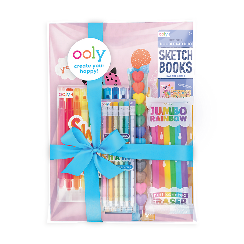 All Rainbows All the Time Pack with markers, pencils, crayons sketchbooks and eraser