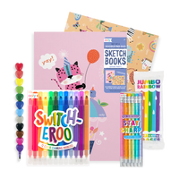 Unwrapped All Rainbows All the Time Pack with markers, pencils, crayons sketchbooks and eraser