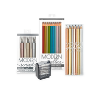 Mighty & Modern Metallic Writing Pack with graphite and colored pencils, fountain pens and pencil sharpener