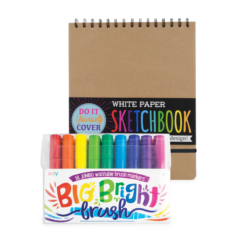 Big & Bright Drawing Pack with set of 18 jumbo brush markers and DIY cover sketchbook