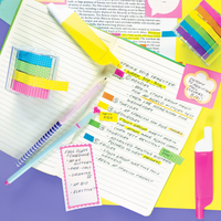 Homework notes highlighted with Do-Overs Erasable Highlighters