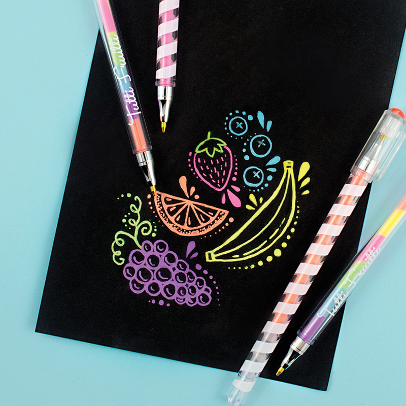 OOLY Tutti Frutti Gel pens writing on black paper