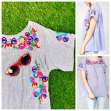 Blue Stripe Vibrantly Embroidered Short Sleeve Peasant Top