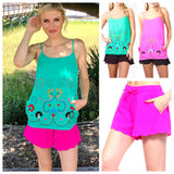 Barbie Pink Scalloped Hem Elastic Drawstring Waist Shorts