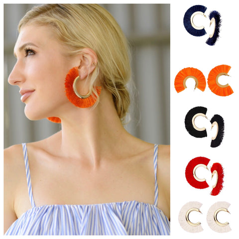 Fringe Hoops in 5 Colors! (Red, Orange, Ivory, Navy, Black)