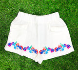 White Floral Embroidered Elastic Waist Shorts with Front Pockets