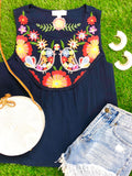 Navy Sleeveless Embroidered Birds Top