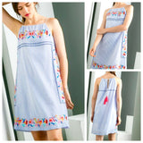 Blue Stripe Embroidered Birds of Paradise Shift Dress with Hot Pink Back Tassel Tie
