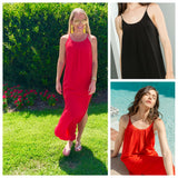 Tomato Red OR Black Maxi Dress with Pleated Front & Beautiful SHEEN!