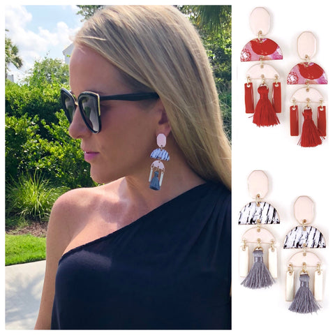 Red OR Grey Abstract Chandelier Tassel Earrings
