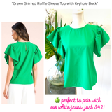 Green Shirred Ruffle Sleeve Top with Keyhole Back