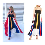 Black Color Block Pleated Maxi Dress with Grommet Shoulder Ties