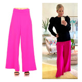 Hot Pink High Waisted Wide Leg Pants with Side Zip