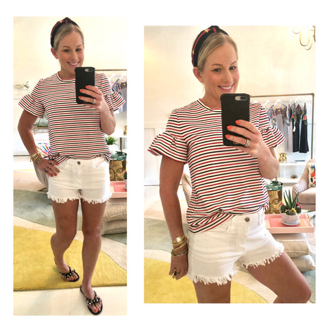 Red White & Blue Stripe Smocked Bell Sleeve Tee