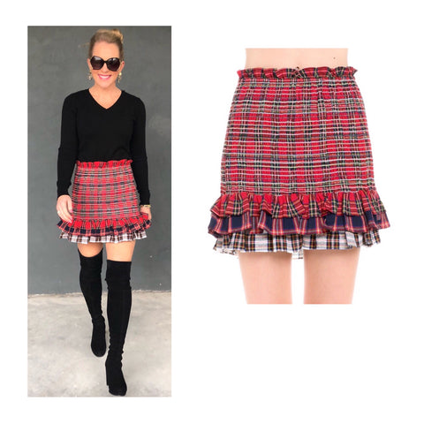 Navy & Red Smocked Tartan Tiered Ruffle Hem Skirt