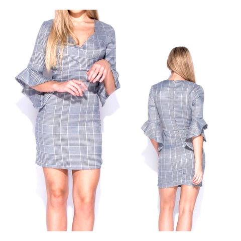 Grey Check Frill Sleeve Dress