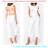 White Textured Ruffle Jumpsuit with Open Back & POCKETS