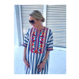 Blue White Stripe Embroidered Shift Dress