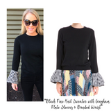 Black Fine Knit Sweater with Gingham Flute Sleeves & Banded Waist