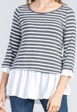 Striped along Sleeve Peplum Top, Charcoal Grey
