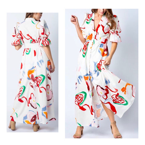 White Multicolor Abstract Floral Print Button Down Maxi Dress with Puff Sleeves & Banded Waist