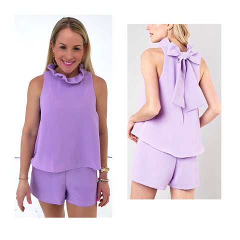 Lavender Ruffle Neck Swing Cami Romper with Bow Back
