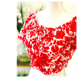 Red & White Floral Print Smocked Puff Sleeve Ruffle Trim Top with Tassel Tie