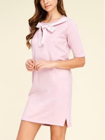 Pink Short Sleeve Knit Dress with Grosgrain Ribbon Collar Tie