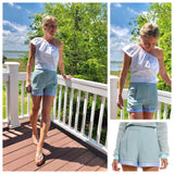 Jade Green Woven Shorts with Blue Stripe Satin Ribbon Hem (Matching Top Sold Separately)
