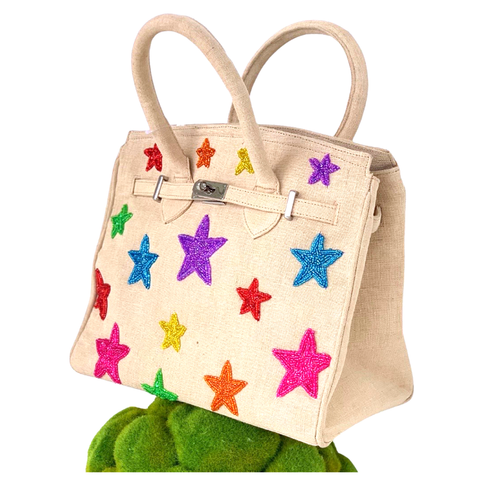 Handmade Beaded Stars Canvas Tiana BIRKY Bag