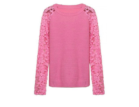Pink Knit Lace Sweater