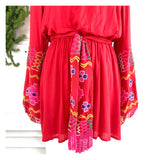 Magenta EMBROIDERED Long Puff Sleeve Dress with Self Tie Tassel Sash