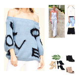 Blue 3/4 Balloon Sleeve LOVE Sweater💙