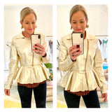 Metallic Gold PU Leather Pleated Peplum Jacket with Zipper Cuffs