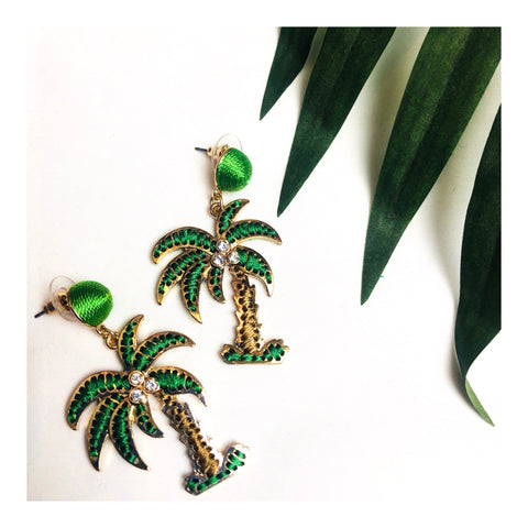 Threaded in Gold Palm Tree with Rhinestones Earrings